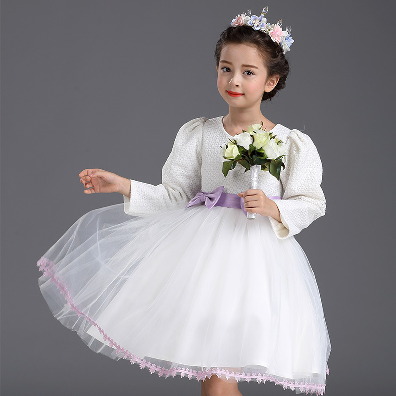 Foreign Trade White Princess Wedding Flower Girls Dress Bow Mesh White<br>