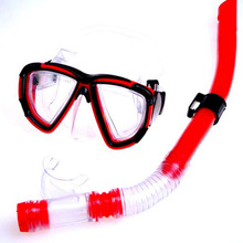 Swimming Gear Dive Scuba Anti-fog Goggles Protective Mask Glasses Diving Equipment Semi Dry Snorkel Set, Red/Yellow