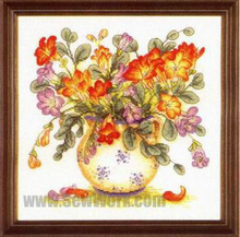 Fishxx Cross-Stitch B153flowers[freesia]Flower series,insets,soluble printing,100% accurate pattern,11CT,