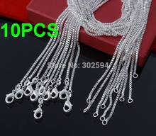 10pcs price/ 2MM 16-24inch Wholesale Beautiful  silver plated WOMEN MEN BOX chain necklace high quality fashion for pendant