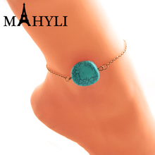 mahyli Sexy Beach Turquoises Anklets for Women Lovely Gold color Multilayer Foot Chains Jewelry Barefoot Sandals Ankle Bracelets(China)