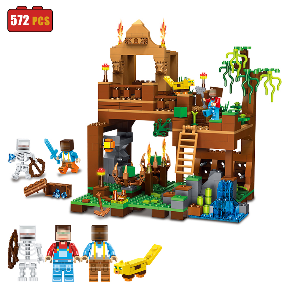 My World Building Blocks Bricks Minecrafted Forest Compatible Legoe Figures With Weapons Enlighten Toys For Children Christmas<br>