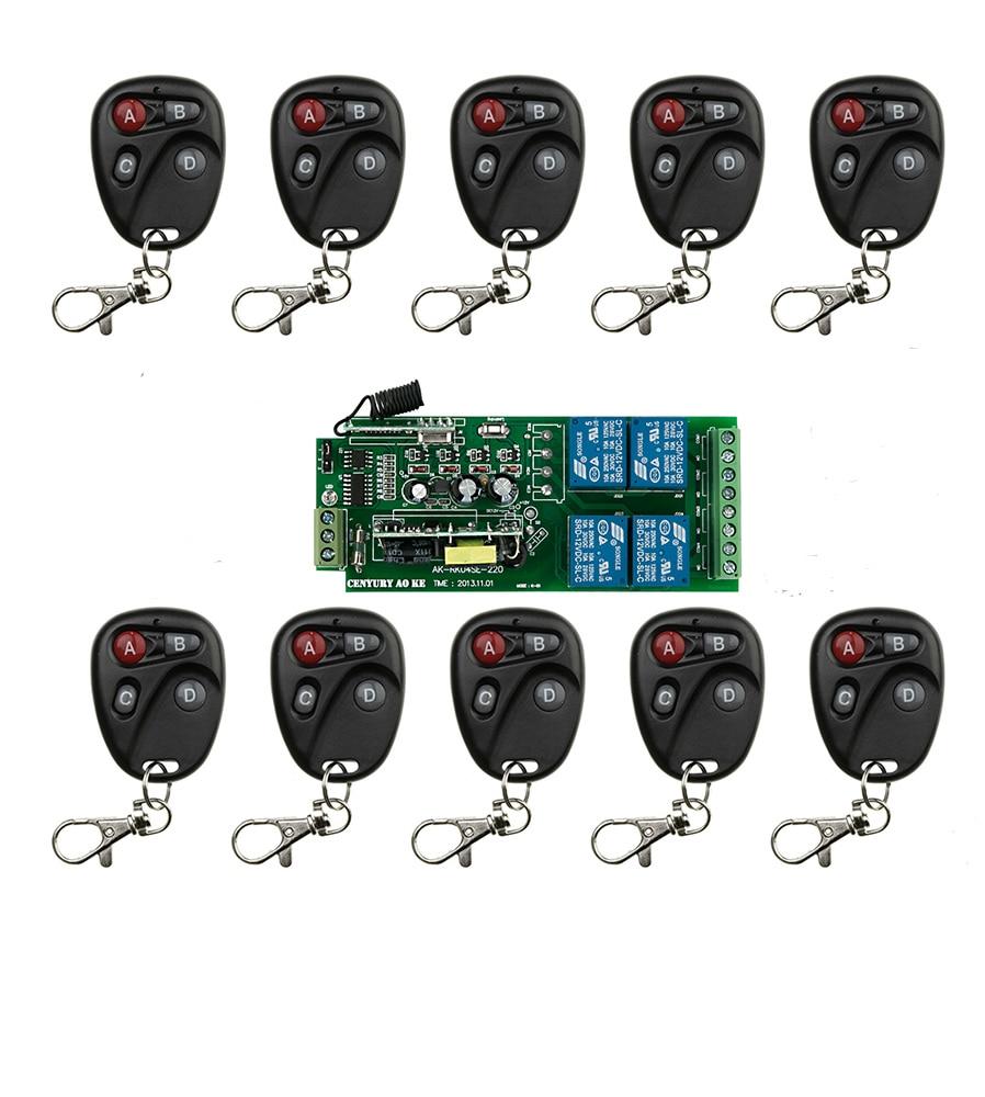 AC85V 110V 120V 220V 250V 4CH RF Wireless Remote Control Relay Switch Security System Garage Doors, Electric Doors<br>
