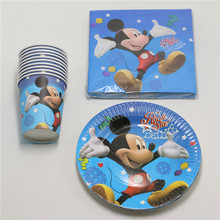 40pcs/lot Mickey Mouse Cartoon Party Set Tableware Paper Cup Plate Boy Kids Birthday Party Wedding Favor Decoration Supplies
