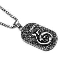 HIP Punk 12 Zodiac Sign Men Pisces Charm Necklaces & Pendants Solid Casting Stainless Steel Dog Tags Necklace for Men Jewelry