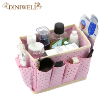 DINIWELL Home Storage Box Desk Organizer Folding Office Desk Storage Organizador Jewelry Cosmetic Makeup Box(China)