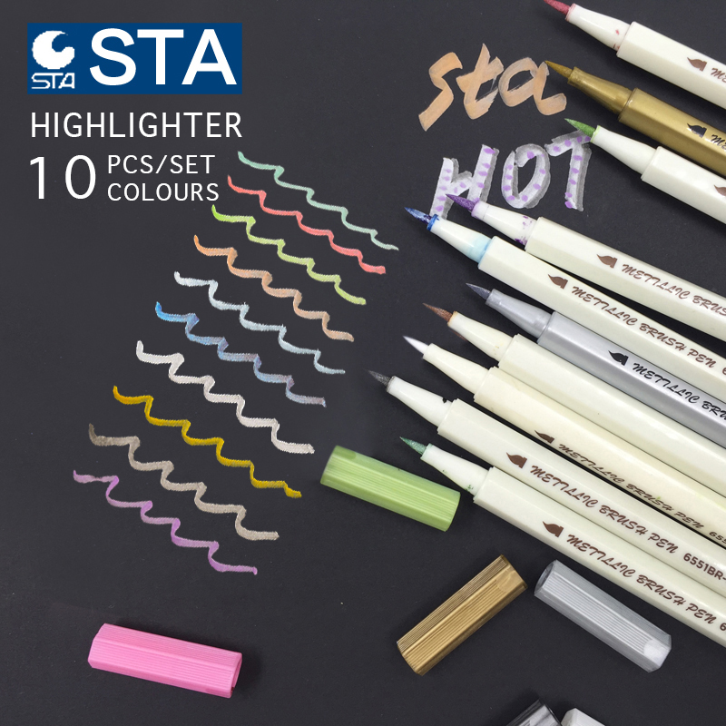 10 Colors Metallic Marker Pen Set DIY Scrapbooking Crafts Card Making Brush/ Round Head Art Pen For Drawing