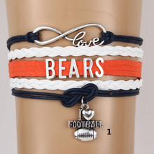 (6pcs/lot) Infinity Love Chicago BEARS Bracelet NFL Football Team Charm Bracelets & Bangles For Women Men Handmade Jewelry