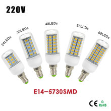 AC220 Spotlight Downlight 5730 SMD E14 LED Bulb Lamp Replace Fluorescent Light Lampada 24/36/48/56/69LEDs For Indoor Lighting