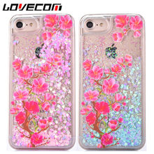 LOVECOM Phone Case For iPhone 5 5S SE 6 6S 7 Plus Love Heart Dynamic Liquid Quicksand Peach Blossom Hard PC Phone Back Covers