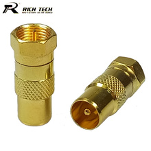 10pcs/lot Gold Plated F Male Plug to IEC PAL DVB-T TV Male Plug RF Adapter TV Connector RICH TECH Wholesales(China)