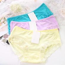 Buy Women Panties Solid Color Lace Underwear Soft Cotton Briefs Casual Ladies Lingeries