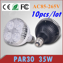 LED Par30 35W Spotlight Par 30 Bulb Light E27 B22 Indooor high power Lamp black white body 85V-265V 10pcs/lot