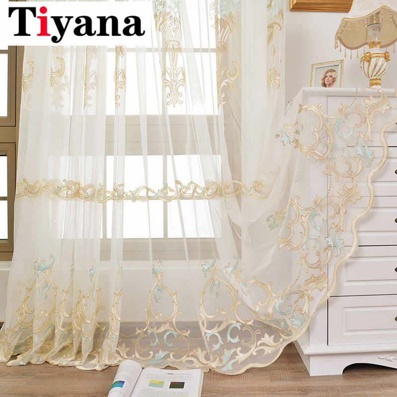 European Embroidered Sheer Curtains Luxury Tulle For Living Room Gold Transparent Yarn Bedroom Ribbon Curtains Drapes P158D3