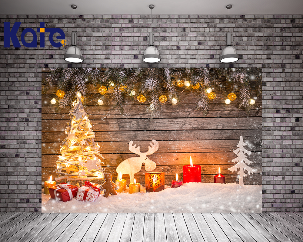 Kate Retro Wood Photography Backdrops Christmas Christmas Tree Ball, Candle Family Photography Backdrops Winter Background<br>
