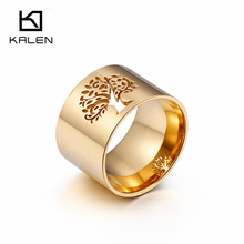 Kalen Top Quality High Polished Stainless Steel Gold Color Lush Tree of Life Symbol Band Rings For Women Size 6-9 Cocktail Rings(China)