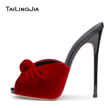 Women High Heel Knotted Mules 2017 Sexy Ladies Black Red Velvet Summer Shoes Peep Toe Sandals Party Evening Dress Heels Big Size(China)