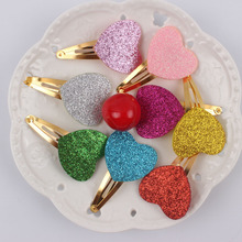 2017 exquisite gifts sparkling girls hair clips 8 color love heart Long 35mm wide 35mm gold barrettes hair accessories kids 1pcs