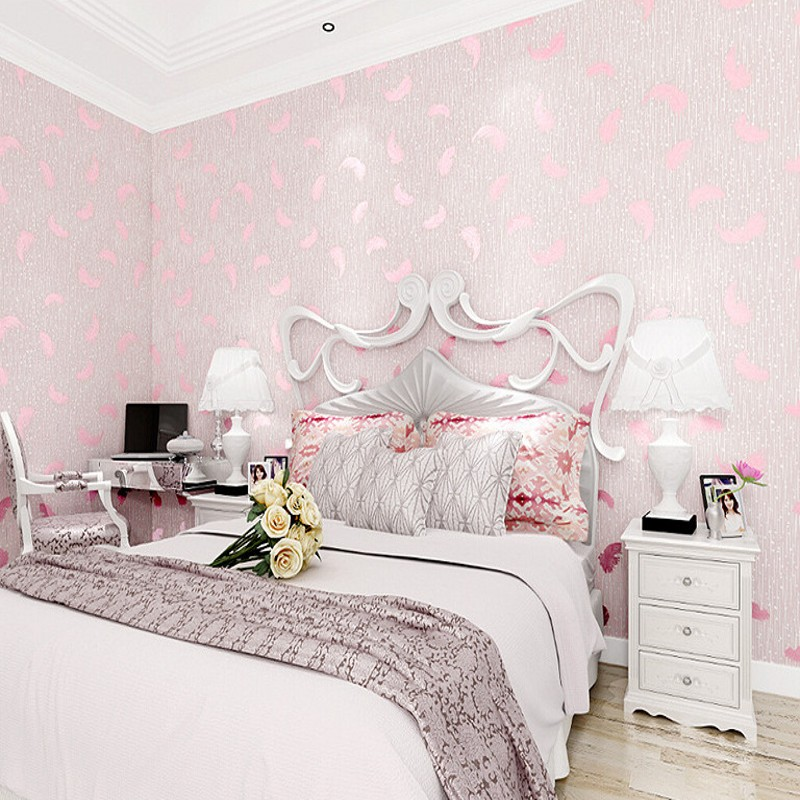 Free Shipping Stereo Feathers Nonwovens Wallpapers Romantic Wedding Room Bedroom Living Room Clothing Store Decorative Wallpaper<br>