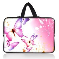 "14"" 14.1"" Pink Butterfly Neoprene Soft Laptop Netbook Sleeve Bag Case Cover Pouch+Hide Handle For 14.1"" HP DELL SONY ACER"