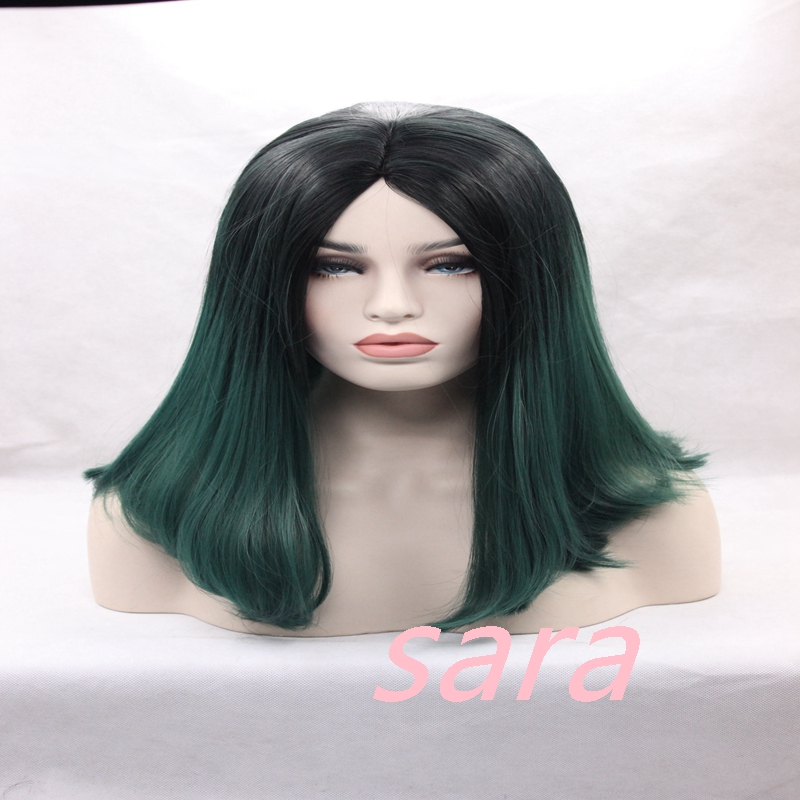 1BTBD black to dark green turquoise teal Synthetic Lace Front Wig Glueless Ombre Tone Color Short Bob Hair Wigs Heat Resistant<br><br>Aliexpress