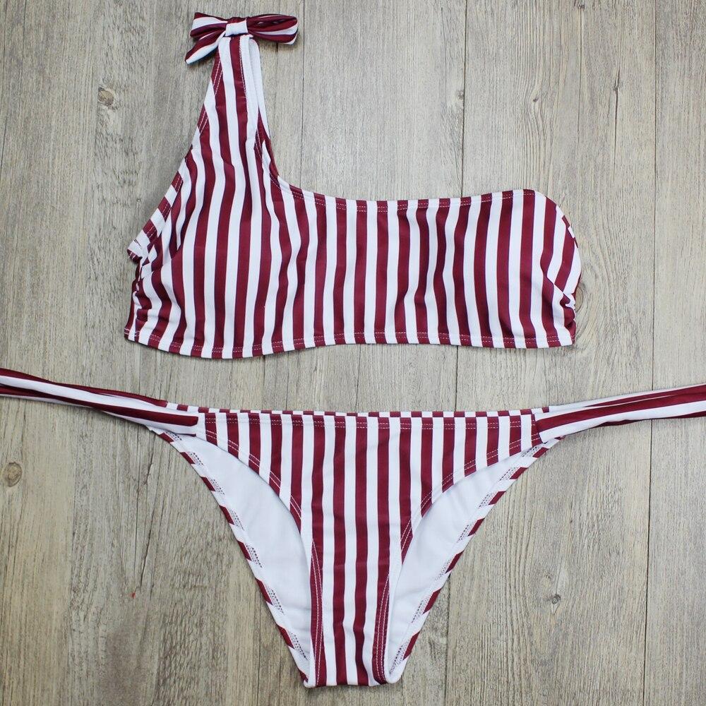 P&j 18 Sexy One Shoulder Bikini two pieces swimsuit female Swimwear Women Bikini Set Bathing Suit swim biquini 17