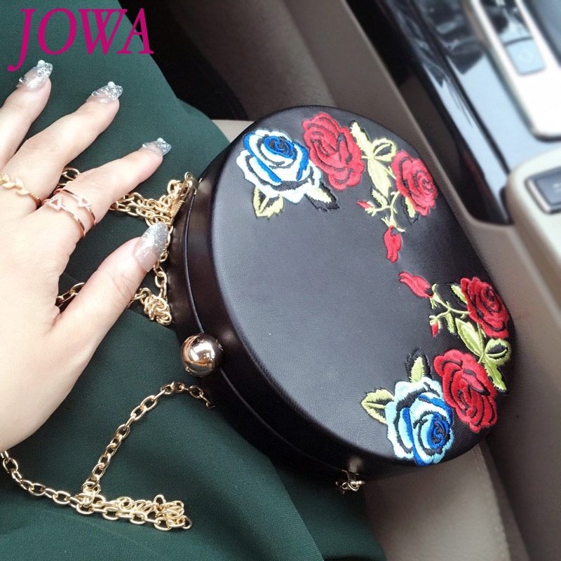 2017 New Design Womens Evening Bags Vintage Embroidery Mini Bag Fashion Circular Wedding Party Black Clutches Night Chain Purse<br>