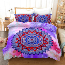 Fanaijia Boho Bed Linen watercolor Mandala Bedding Set Queen Size Bohemian Duvet Cover with Pillowcase Set(China)