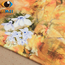 The new gardenia flowers Xiangyun yarn fabrics costumes dresses cheongsam handmade DIY Hanfu fabrics(China)