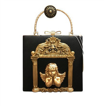 Luxury Designer Baroque styles women handbag pearl chain shoulder bags 3D angel relief tote bags for Lady Wedding Clutch Bolsas(China)