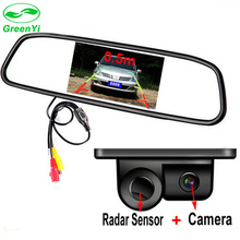 "GreenYi 3in1 4.3"" Car Rearview Mirror Monitor + Rear View Backup Camera with Radar Sensor All-in-one Parking Assistance System"