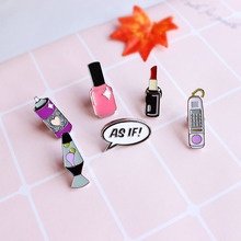 Lovely girl vase nail polish phone lipstick shape brooch brooches Charm jewelry, brooches accessories Clothing accessories pins