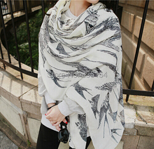 2015 Newest Women Flying Swallow Animal Cotton Scarf Women Bird Twill Cotton Scarf 3Colors 10pcs/Lot
