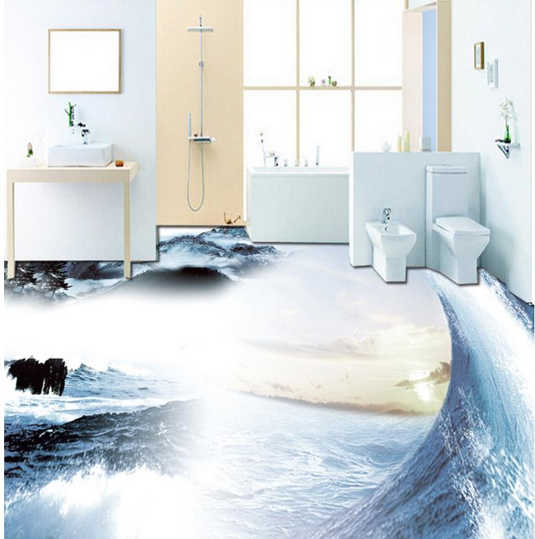 3d floor painting wallpaper pvc wallpaper 3d Sea waves 3D floor waterproof wallpaper for bathroom wall<br>