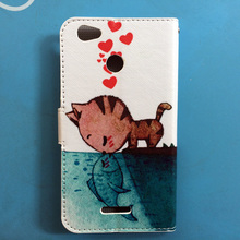 Newest 2016 Cartoon Painting PU Leather Flip cover Case For Micromax Q465 Canvas Juice 4 phone case, Lanyard Gift +Tracking