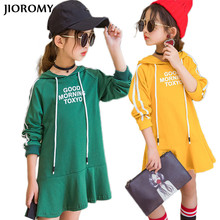 JIOROMY Big Girls Dress 2017 New Korean Sweater Autumn Long Paragraph Hoodie Letter Cotton Sports Dresses for Girls Kids Clothes