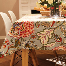 pastoral style woven floral print tablecloth home decor dining table cloth rectangular linen nappe waterproof table cover