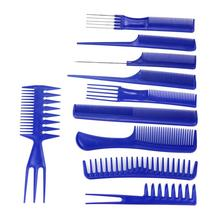 10Pcs Black Hair Styling Hairdressing Plastic Barbers Brush Combs Set 2017  Y511
