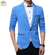 Large Size Solid Blazer Masculino Slim Fit 5XL Single Button Brand Clothing Costume Homme 5Color Black Blue Red Blazer Men 2017