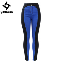 2131 Youaxon New Plus Size High Waist Patched Jeans Woman Black & Blue Stretchy Denim Skinny Pants Trousers For Women Jeans(China)