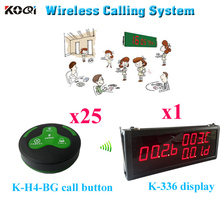 Restaurant Wireless Service Calling System Wireless Calling Restaurant Order Taking Kitchen (1 display 25 call button)(China)