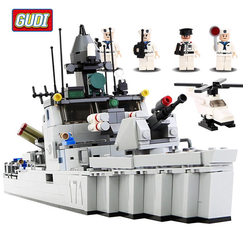 GUDI Military Education Blocks Toys Children Gifts Military Boat Destroyer Weapon Compatible legoe<br>