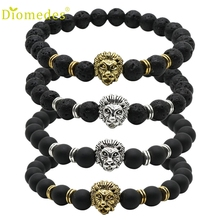 Diomedes 1PC Wholesale Buddha Leo Lion Bracelet Black Lava Stone Bead Bracelet Charm Leather Casual Bracelet #0222