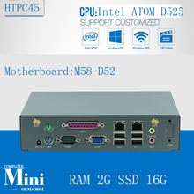 Minipc Linux Nettop Mini Media PC  D525 Support Win 7, WIFI, Webcam, VGA,2G RAM 16G SSD