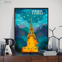 City Paris Eiffel Tower Modern Inspirational Quotes A3 Travel Poster Prints Abstract Canvas Painting Bedroom Wall Art Decor Gift(China)