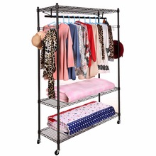 Homdox Practical 3-Tier Wire Shelving Clothes Shelf Garment Rack with Side Hooks and Wheels Bedroom Furniture