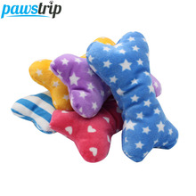 1pc Plush Pet Dog Sound Toys Bone Shape Puppy Cat Chew Squeaker Squeaky Toy(China)