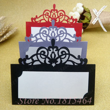 50pcs Laser Cut Lace Crown Paper Place Name Seat Card Wedding Birthday Party Invitation Table Decoration Free Shipping(China)