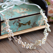 Korean handmade shell flower headband crystal immitate pearl flower tiara headdress ornaments wedding bride hair accessories(China)