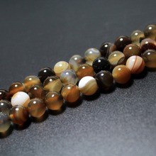 Wholesale Natural Coffee Brown Stripes Agate Beads  For Jewelry Making DIY Bracelet Necklace 4/6/8/10/12 mm Strand 15''